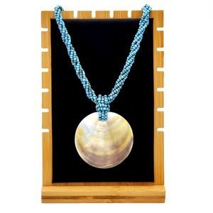 Turquoise Seed Bead Necklace Mother of Pearl Shell
